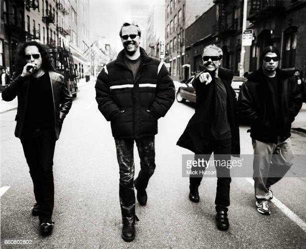 James Hetfield Lars Ulrich Kirk Hammett Robert Trujilo of Metallica New York April 2003