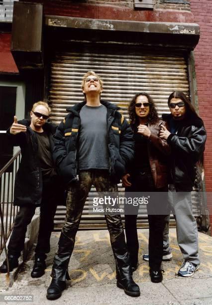James Hetfield Lars Ulrich Kirk Hammett Robert Trujllo of Metallica New York April 2003