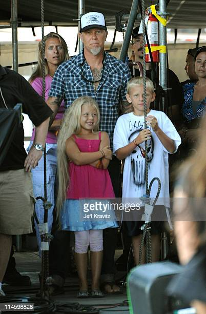 James Hetfield of Metallica and Francesca Hetfield with family backstage during Black Eyed Peas performs onstage at the 2009 Outside Lands Music and...