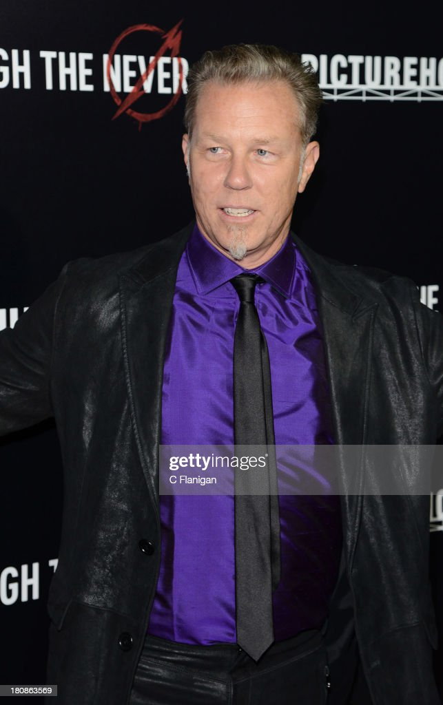<a gi-track='captionPersonalityLinkClicked' href=/galleries/search?phrase=James+Hetfield&family=editorial&specificpeople=178297 ng-click='$event.stopPropagation()'>James Hetfield</a> of Metallica attends the U.S. premiere of 'Metallica: Through The Never' at the AMC Metreon on September 16, 2013 in San Francisco, California.