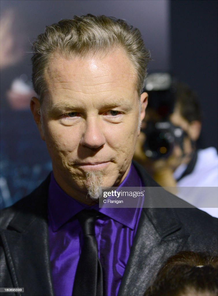 <a gi-track='captionPersonalityLinkClicked' href=/galleries/search?phrase=James+Hetfield&family=editorial&specificpeople=178297 ng-click='$event.stopPropagation()'>James Hetfield</a> of Metallica attends the U.S. Premiere of Metallica Through The Never at the AMC Metreon on September 16, 2013 in San Francisco, California.