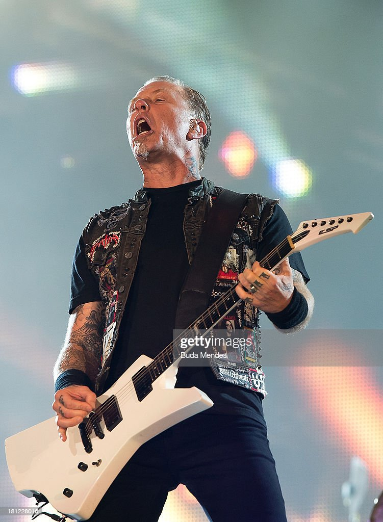 James Hetfield of Metallica band performs on stage during a concert in the Rock in Rio Festival on September 19, 2013 in Rio de Janeiro, Brazil.