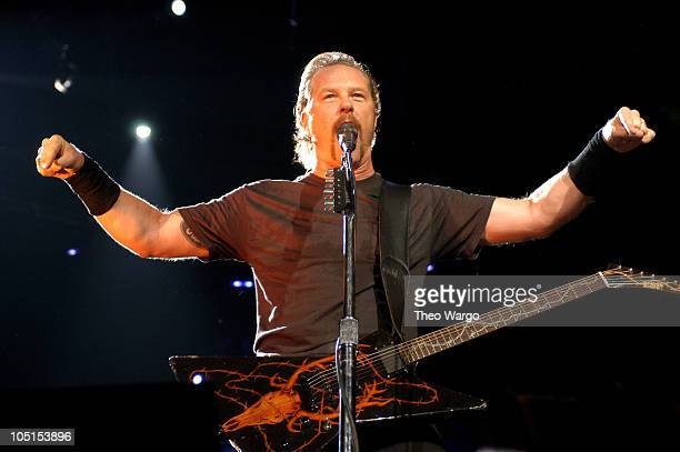 James Hetfield of Metallica during KRock DFP7Tarium at Giants Stadium in E Rutherford New Jersey United States