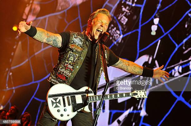 James Hetfield of Metallica headlines on the main stage during day 2 of the Reading Festival at Richfield Avenue on August 29 2015 in Reading England