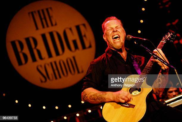 James Hetfield of Metallica perfoms an acoustic set on stage at the Bridge School Benefit Concert 2007 held at the Shoreline Amphitheatre in Mountain...