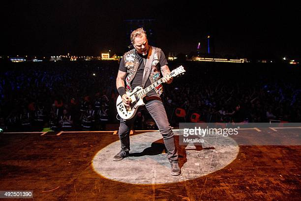 James Hetfield of Metallica performing at Leeds Festival at Bramham Park on August 30 2015 in Leeds England