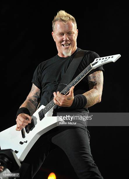 James Hetfield of Metallica performs at Yankee Stadium on September 14 2011 in New York City