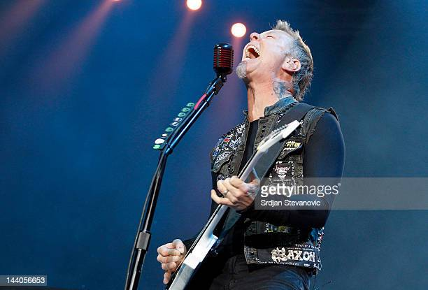 James Hetfield of Metallica performs during their 20th anniversary tour of the Black Album Usce Park on May 8 2012 in Belgrade Serbia