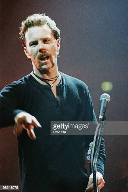 James Hetfield of Metallica performs on stage at The Nynex Arena on October 15th 1996 in Manchester England