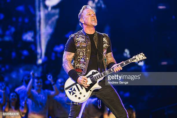 James Hetfield of Metallica performs on the main stage during day 3 of Leeds Festival at Bramham Park on August 30 2015 in Leeds England
