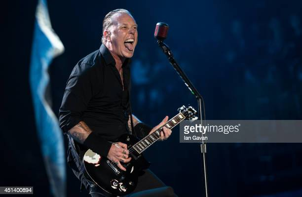 James Hetfield of Metallica performs on the Pyramid stage during Day 2 of the Glastonbury Festival at Worthy Farm on June 28 2014 in Glastonbury...