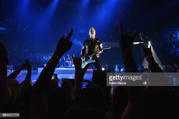 James Hetfield of Metallica performs onstage at Nassau Coliseum on May 17 2017 in Uniondale New York