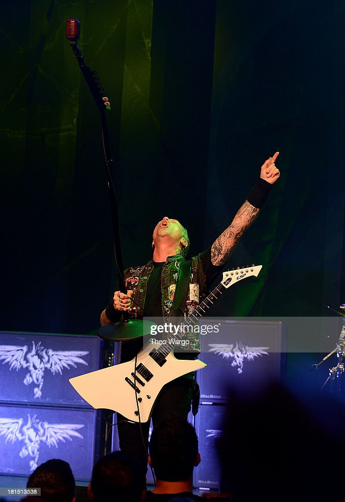 <a gi-track='captionPersonalityLinkClicked' href=/galleries/search?phrase=James+Hetfield&family=editorial&specificpeople=178297 ng-click='$event.stopPropagation()'>James Hetfield</a> of Metallica performs private, exclusive concert for SiriusXM listeners at The Apollo Theater on September 21, 2013 in New York City.