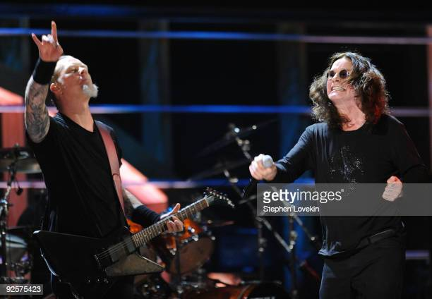 James Hetfield of Metallica performs with Ozzy Osbourne onstage at the 25th Anniversary Rock Roll Hall of Fame Concert at Madison Square Garden on...