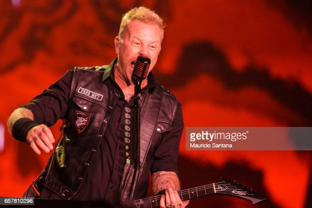 James Hetfield of the band Metallica performs live on stage at Autodromo de Interlagos on March 25 2017 in Sao Paulo Brazil