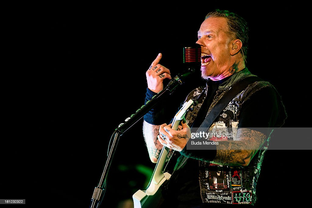 James Hetfield of the band Metallica performs on stage during a concert in the Rock in Rio Festival on September 19, 2013 in Rio de Janeiro, Brazil.