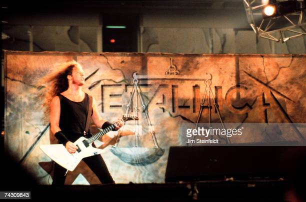 James Hetfield of the heavy metal quarter Metallica performs onstage in 1988 in Minneapolis Minnesota