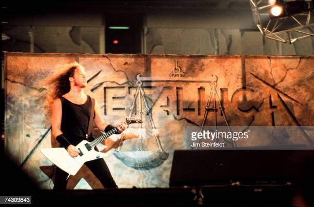 James Hetfield of the heavy metal quarter Metallica performs onstage in 1988 in Minneapolis Minnesota