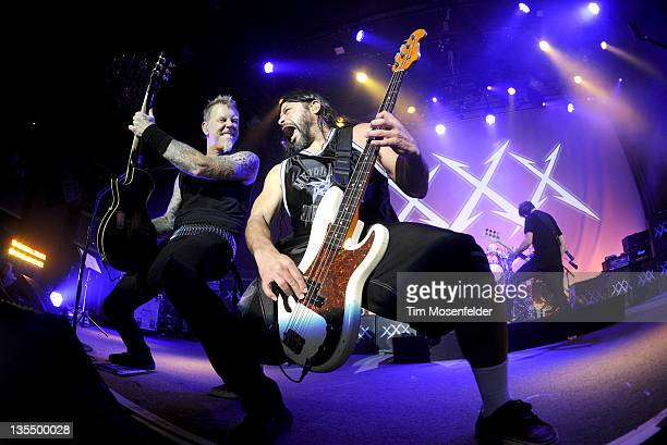 James Hetfield Robert Trujillo and Jason Newsted of Metallica perform at Day Four of the bands' 30th Anniversary shows at The Fillmore on December 10...