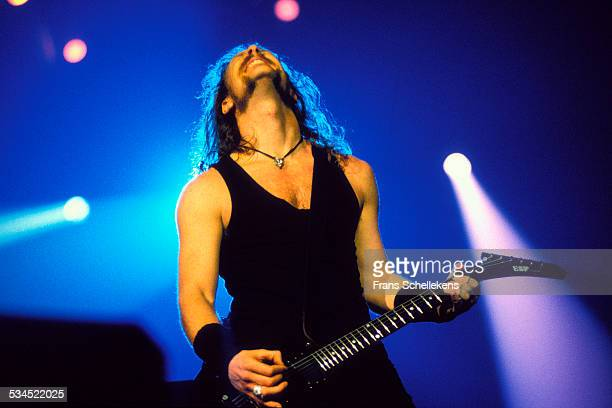 James Hetfield vocals and guitar performs with Metallica at the Wembley Arena on May 4th 1992 in London United Kingdom