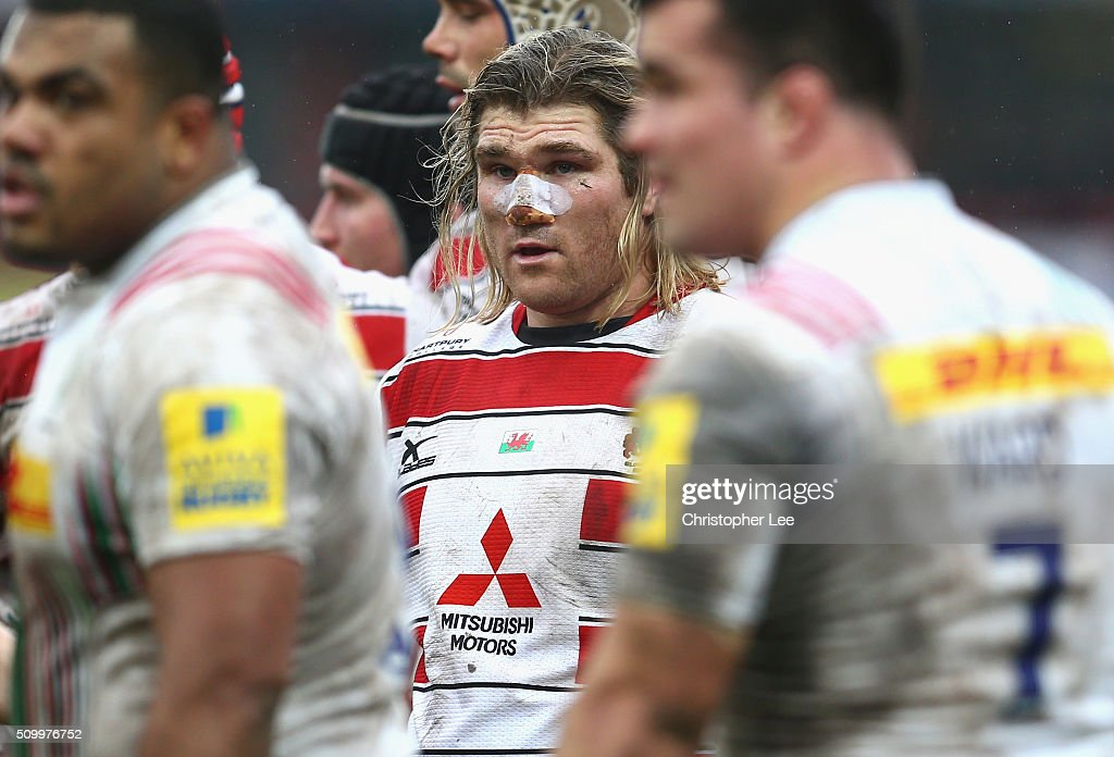 James Hibbard of Gloucester with his nose strapped during the Aviva Premiership match between Gloucester Rugby and Harlequins at Kingsholm Stadium on February 13, 2016 in Gloucester, England.