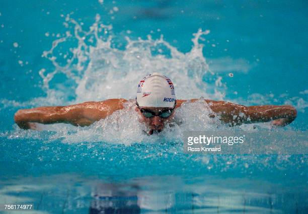 James Hickman of Great Britain competes in the Men's 200m Butterfly competition at the 2000 LEN European Aquatics Championships on 7 July 2000 at the...