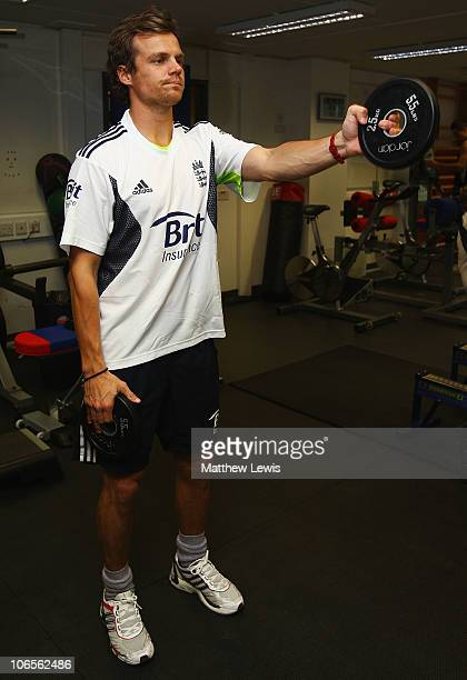 James Hildreth of England trains in the gym during an ECB England Performance Programme Training Session at the National Cricket Performance Centre...