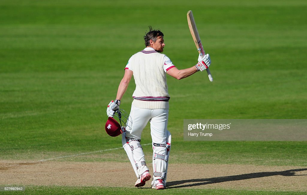 James Hildreth of Somerset celebrates after reaching his century during Day Three of the Specsavers County Championship Division One match between Someret and Lancashire at the County Ground on May 03, 2016 in Somerset, United Kingdom.