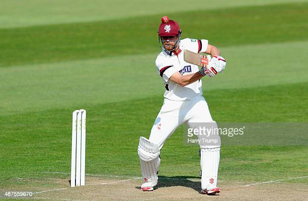James Hildreth of Somerset cuts during the LV County Championship match between Somerset and Hampshire at The County Ground on September 10 2015 in...