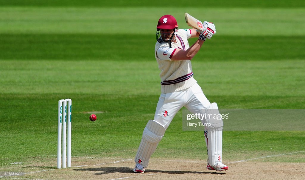 James Hildreth of Somerset cuts the ball during Day Three of the Specsavers County Championship Division One match between Someret and Lancashire at the County Ground on May 03, 2016 in Somerset, United Kingdom.