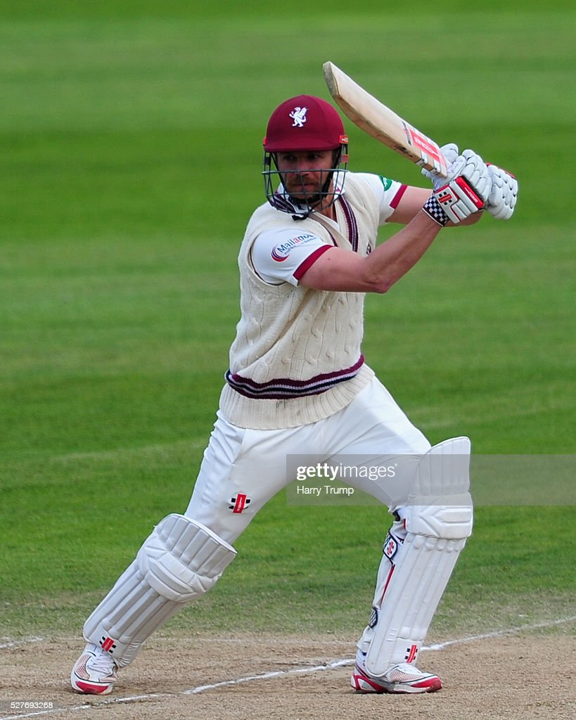 James Hildreth of Somerset hits out during Day Three of the Specsavers County Championship Division One match between Someret and Lancashire at the County Ground on May 03, 2016 in Somerset, United Kingdom.