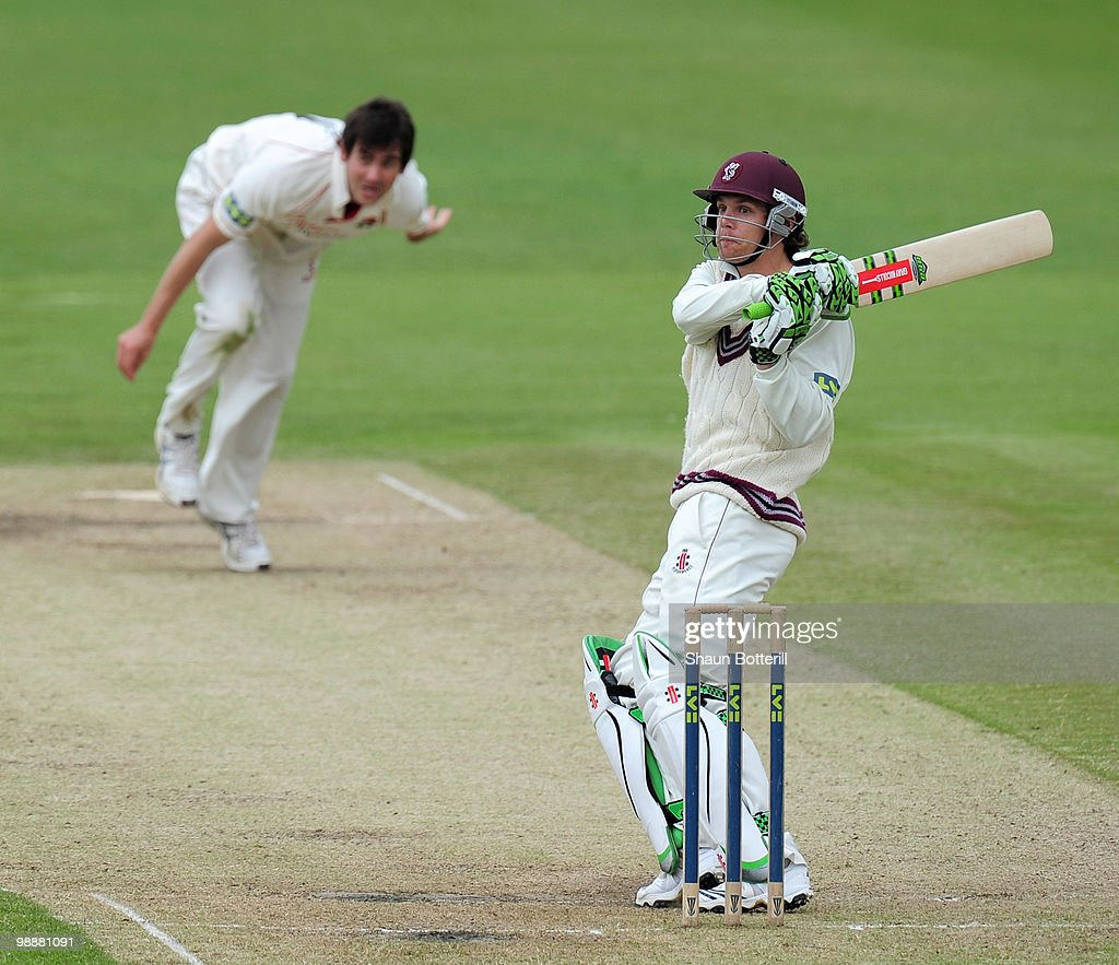 James Hildreth of Somerset plays as shot off the bowling of Kyle Hogg of Lancashire during the LV County Championship match between Lancashire and...