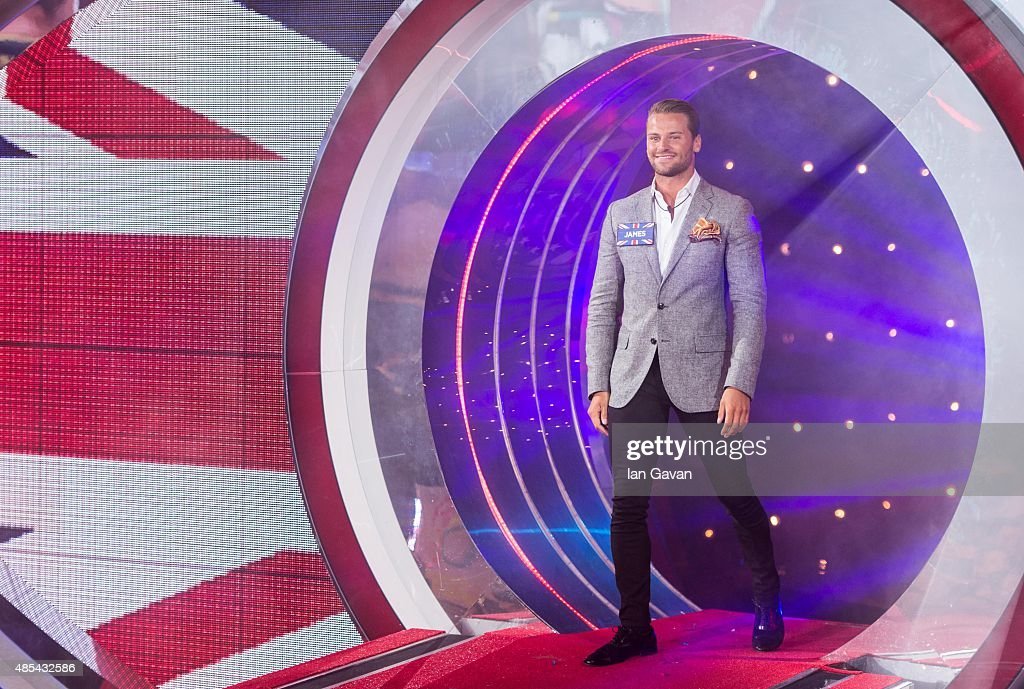 James Hill enters the Celebrity Big Brother house at Elstree Studios on August 27 2015 in Borehamwood England
