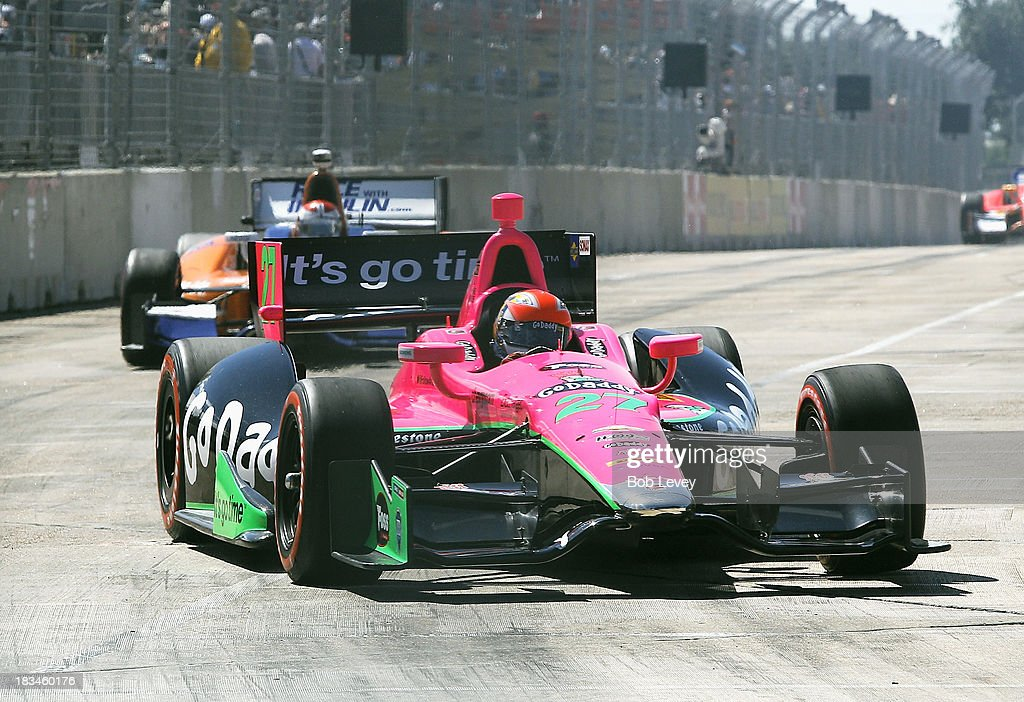 <a gi-track='captionPersonalityLinkClicked' href=/galleries/search?phrase=James+Hinchcliffe&family=editorial&specificpeople=4024510 ng-click='$event.stopPropagation()'>James Hinchcliffe</a>, driver of the #27 Andrett Autosport car during the Shell And Pennzoil Grand Prix Of Houston Race #2 at Reliant Park on October 6, 2013 in Houston, Texas.