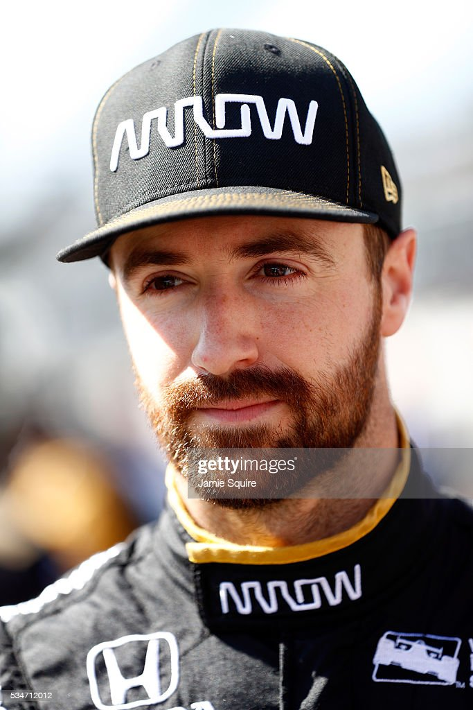 <a gi-track='captionPersonalityLinkClicked' href=/galleries/search?phrase=James+Hinchcliffe&family=editorial&specificpeople=4024510 ng-click='$event.stopPropagation()'>James Hinchcliffe</a>, driver of the #5 Honda, prepares to practice during Carb Day ahead of the 100th running of the Indianapolis 500 at Indianapolis Motorspeedway on May 27, 2016 in Indianapolis, Indiana.