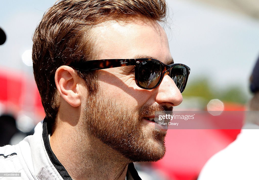 <a gi-track='captionPersonalityLinkClicked' href=/galleries/search?phrase=James+Hinchcliffe&family=editorial&specificpeople=4024510 ng-click='$event.stopPropagation()'>James Hinchcliffe</a> is shown on the grid before the IMSA Tudor Series race at Road America on August 10, 2014 in Elkhart Lake, Wisconsin.