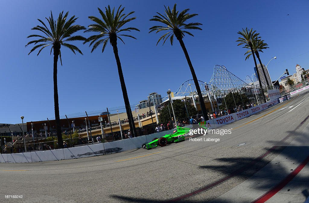 James Hinchcliffe of Canada driver of the #27 Andretti Autosport Dallara Chevrolet during the IndyCar Series Toyota Grand Prix of Long Beach on April 20, 2013 on the streets of Long Beach, California.
