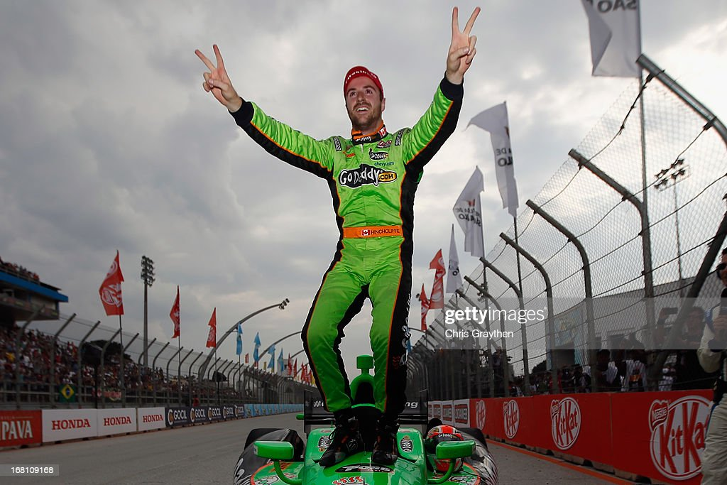 James Hinchcliffe of Canada driver of the #27 Andretti Autosport Dallara Chevrolet celebrates after winnin the IZOD IndyCar series Sao Paulo Indy 300 at Anhembi Sambadrome on May 5, 2013 in Sao Paulo, Brazil.