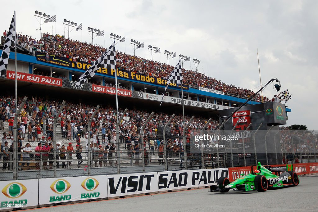 James Hinchcliffe of Canada driver of the #27 Andretti Autosport Dallara Chevrolet crosses the finish line to win the IZOD IndyCar series Sao Paulo Indy 300 at Anhembi Sambadrome on May 5, 2013 in Sao Paulo, Brazil.