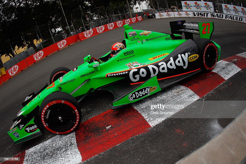 James Hinchcliffe of Canada driver of the #27 Andretti Autosport Dallara Chevrolet drives during the IZOD IndyCar series Sao Paulo Indy 300 at Anhembi Sambadrome on May 5, 2013 in Sao Paulo, Brazil.