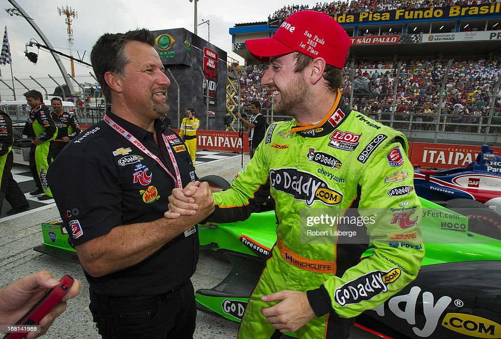 James Hinchcliffe of Canada, driver of the #27 Andretti Autosport Dallara Chevrolet celebrates with team owner <a gi-track='captionPersonalityLinkClicked' href=/galleries/search?phrase=Michael+Andretti&family=editorial&specificpeople=204617 ng-click='$event.stopPropagation()'>Michael Andretti</a> after winning the IndyCar Series Sao Paulo indy 300 on May 5, 2013 in the streets of Sao Paulo in Sao Paulo, Brazil.