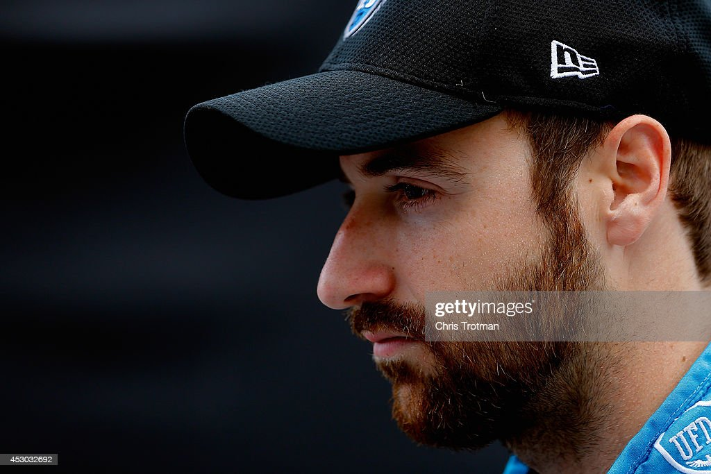 <a gi-track='captionPersonalityLinkClicked' href=/galleries/search?phrase=James+Hinchcliffe&family=editorial&specificpeople=4024510 ng-click='$event.stopPropagation()'>James Hinchcliffe</a> of Canada driver of the #27 Andretti Autosport Dallara Honda stands on pit lane prior to practice for the Verizon IndyCar Series Honda Indy 200 at Mid-Ohio Sports Car Course on August 1, 2014 in Lexington, Ohio.