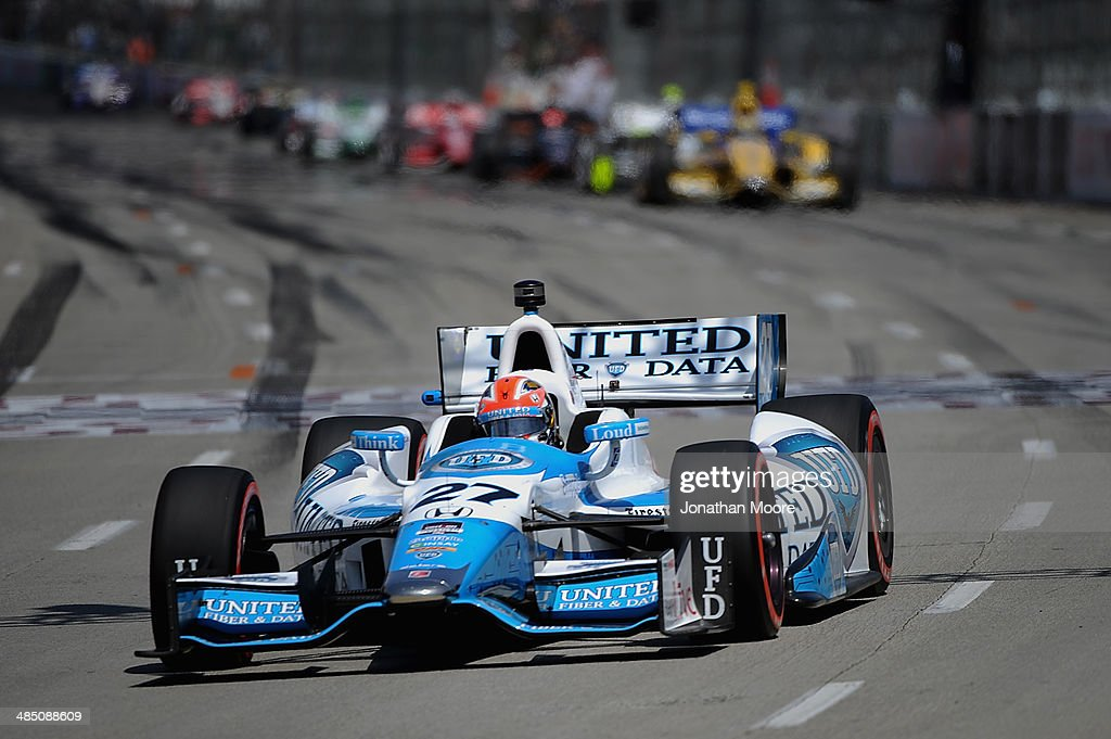<a gi-track='captionPersonalityLinkClicked' href=/galleries/search?phrase=James+Hinchcliffe&family=editorial&specificpeople=4024510 ng-click='$event.stopPropagation()'>James Hinchcliffe</a> of Canada, driver of the #27 Andretti Autosport Dallara Honda, on the track during the Verizon IndyCar Series Toyota Grand Prix of Long Beach on April 13, 2014 on the streets of Long Beach, California.