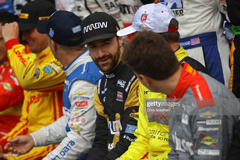 <a gi-track='captionPersonalityLinkClicked' href=/galleries/search?phrase=James+Hinchcliffe&family=editorial&specificpeople=4024510 ng-click='$event.stopPropagation()'>James Hinchcliffe</a> of Canada, driver of the #5 ARROW Schmidt Peterson Motorsports Chevrolet, poses for a photo as he prepares to drive on Carb Day ahead of the 100th running of the Indianapolis 500 at Indianapolis Motorspeedway on May 27, 2016 in Indianapolis, Indiana.