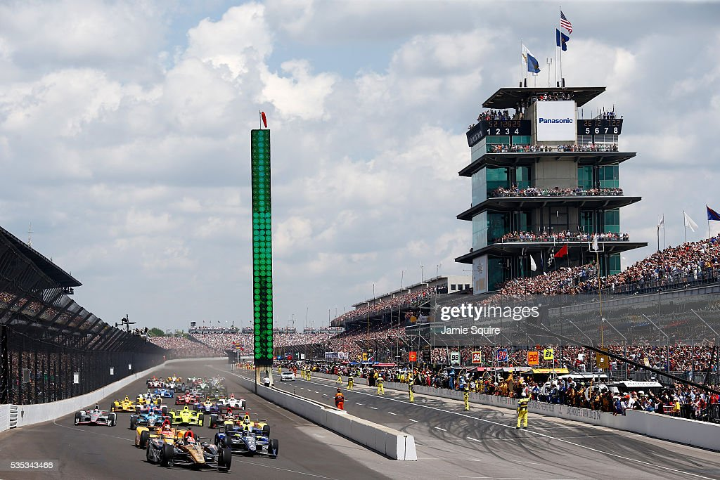 <a gi-track='captionPersonalityLinkClicked' href=/galleries/search?phrase=James+Hinchcliffe&family=editorial&specificpeople=4024510 ng-click='$event.stopPropagation()'>James Hinchcliffe</a> of Canada, driver of the #5 ARROW Schmidt Peterson Motorsports Chevrolet, leads the field at the start of the 100th running of the Indianapolis 500 at Indianapolis Motorspeedway on May 29, 2016 in Indianapolis, Indiana.
