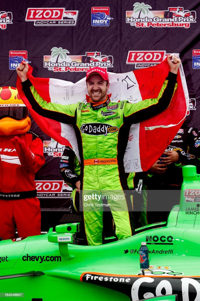 James Hinchcliffe of Canada, driver of the #27 GoDaddy.com Andretti Autosport Dallara Chevrolet celebrates his victory in the IZOD IndyCar Series Honda Grand Prix of St Petersburg on March 24, 2013 in St Petersburg, Florida.