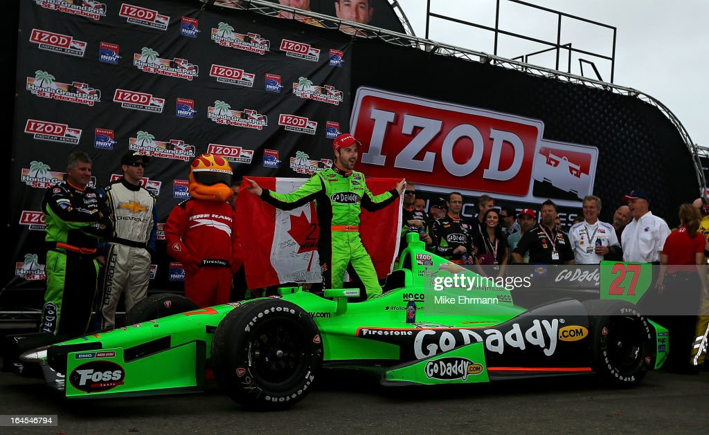 James Hinchcliffe of Canada, driver of the #27 GoDaddy.com Andretti Autosport Dallara Chevrolet celebrates after winning the Honda Grand Prix of St. Petersburg on March 24, 2013 in St Petersburg, Florida.