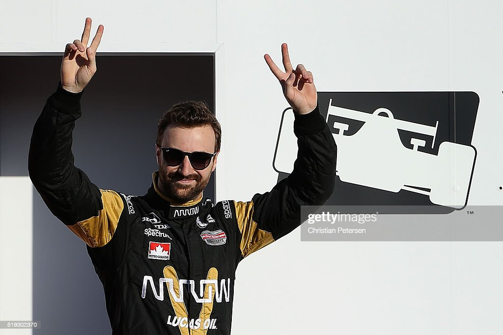 <a gi-track='captionPersonalityLinkClicked' href=/galleries/search?phrase=James+Hinchcliffe&family=editorial&specificpeople=4024510 ng-click='$event.stopPropagation()'>James Hinchcliffe</a> of Canada, driver of the #5 Schmidt Peterson Motosports Honda IndyCar is introduced before the Phoenix Grand Prix at Phoenix International Raceway on April 2, 2016 in Avondale, Arizona.