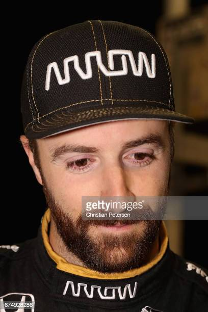 James Hinchcliffe of Canada driver of the Schmidt Peterson Motosports Honda on the grid before qualifying for the Desert Diamond West Valley Phoenix...