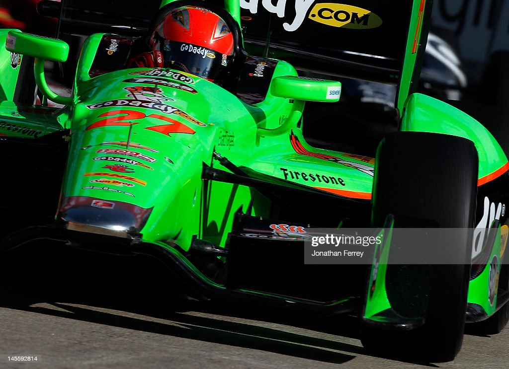 James Hinchcliffe of Canada drives his #27 Go Daddy Andretti Autosport Chevy Dallara DW12 during practice for the IZOD INDYCAR Series Chevrolet Detroit Belle Isle Grand Prix on Belle Isle on June 2, 2012 in Detroit, Michigan.